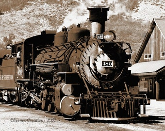 Sepia Tone - Durango and Silverton Railroad Engine - DIGITAL IMAGE - DIY for handmade projects!