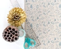 """A3 Wrapping Paper Sheet in """"Silly Seas"""" - Brown recycled kraft paper"""