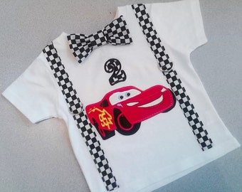 Cars Appliqued Birthday Bow Tie Shirt With Suspenders Sizes NB,3mo, 6 mo,9mo, 12 mo, 18 mo, 24 mo, 2t, 3t, 4t, 5t