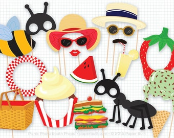 Picnic Party, Photo Booth Props, Photobooth Props, Picnic Basket, Summertime, Bumble Bee Ant, Picnic Birthday, Lemonade Watermelon Ice Cream