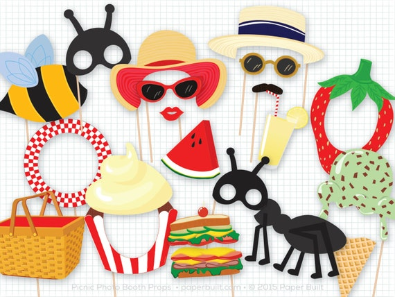 Picnic Party Photo Booth Props, Photobooth Props, Picnic Basket, Summer, Lemonade, Bumble Bee, Ant, Picnic Birthday, Watermelon, Ice Cream