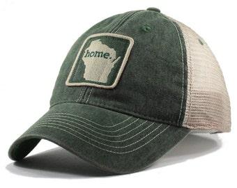 Homeland Tees Wisconsin Home Trucker Hat - Vintage Green