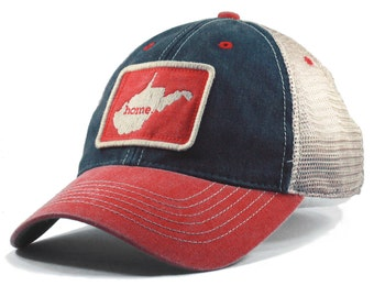 Homeland Tees West Virginia Home State Vintage Trucker Hat - Red and Blue