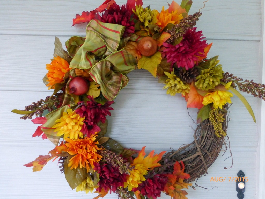 Front door wreath autumn wreath fall colors burgundy Fall autumn door wreaths