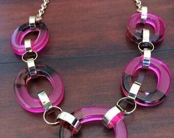 Large Pink Lucite Necklace, Cloud Lucite Necklace, Lucite Chain Necklace, Pink Mod Necklace, Large Pink Necklace, Colorful Lucite