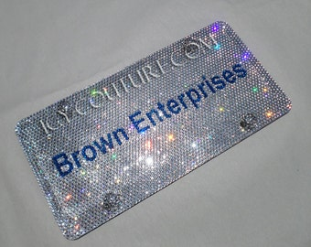 your business name swarovski bling front vanity license plate