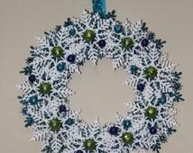 Christmas Snowflake Wreath, Turquoise White Green Purple, Snowflake Wreath, Holiday Decoration, Snowflake Decoration, Candy Cane Decor
