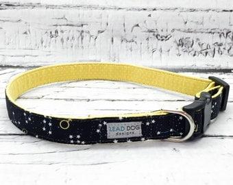 Zodiac Dog Collar // Constellation Dog Collar // Stars and Moon // Galaxy Dog Collar