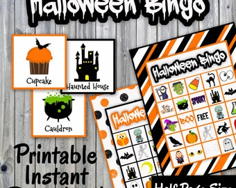 Halloween Bingo Printable PDF - 30 different Cards - Half Page Size - Memory Game - Party Game Printable - INSTANT DOWNLOAD