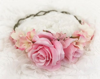 Avery Pink Floral Crown • PINK Floral Crown • Wedding Head Piece • Princess Floral Crown • Bohemian Crown • Flower Girl | Ready To Ship