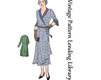 1930s Ladies Wrap Around Dress - Reproduction Sewing Pattern #T0337