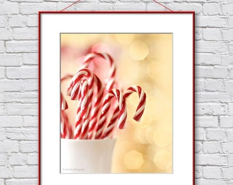 Christmas Photography Print, Christmas Kitchen Decor, Christmas Gift Hostess, Red White Bokeh Wall Art Print, Candy Canes Photo