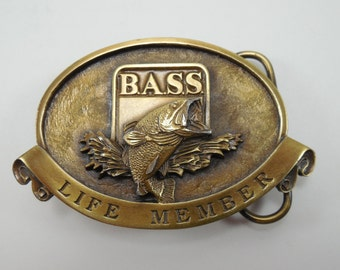 Vintage BASS Life Member Belt Buckle B.A.S.S. Belt Buckle Made Exclusively For Bass Anglers Sportsman Society Made In USA Numbered