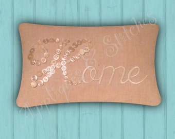 HOME Linen Pillow with Vintage Buttons Embroidery