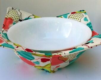 Microwave Bowl Cozy Pot Holder Kitchen Utensil Table Protector Kitchen Accessory Finger Saver, Pear Fabric,  Kitchen Decor Houseware Cotton