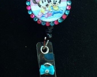 Baby Minnie And Baby Micky Retractable ID badge reels