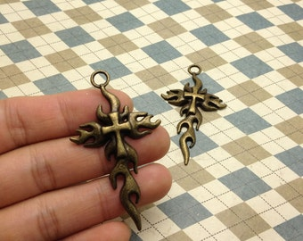 10PCS Antique Bronze Burning Cross Pendant Charm 35mmx62mm