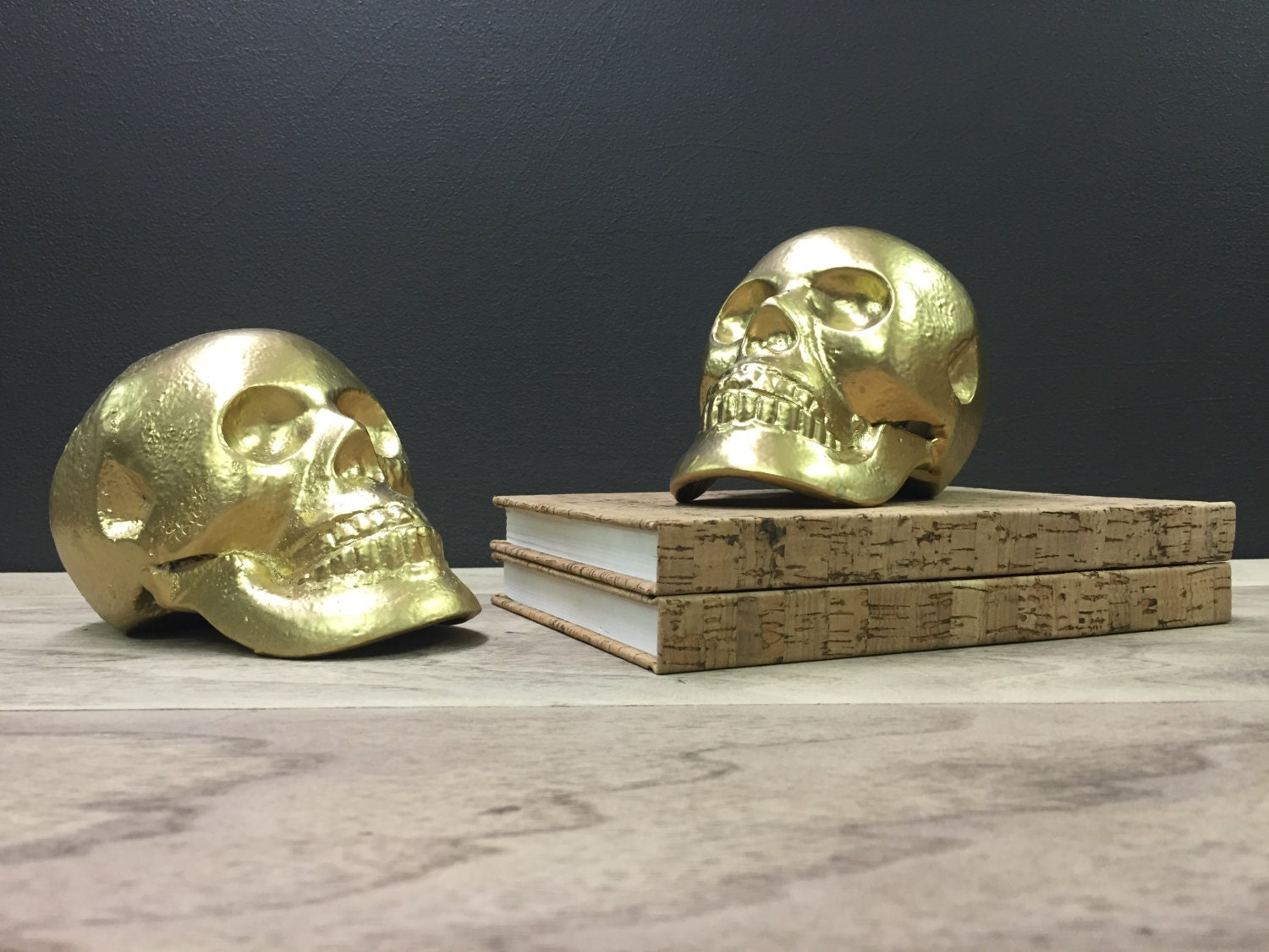 Gold Skull Bookends Heavy Cast Iron Unique Gold Book Ends