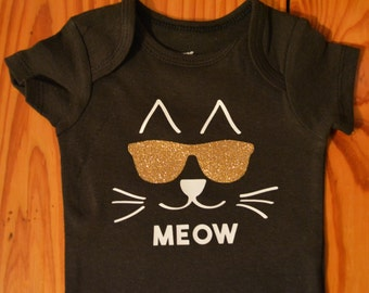 Cool Cat baby, baby clothes, funny baby bodysuit, Hipster baby, cute kitten, baby girl, baby boy, baby shower gift
