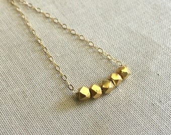 Gold Nugget Necklace / Beaded Necklace/  Tinyv Gold Faceted Bead Necklace / Gold Beaded Necklace/ Sterling
