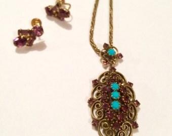 HOBE Necklace, Vintage Hobe Necklace, Hobe Pendant Necklace, Vintage Designer Necklace