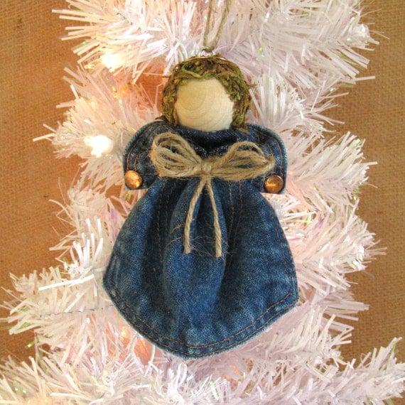 Christmas Tree Angel Decorations: Upcycled Denim Angel Christmas Tree Ornament Denim Pocket