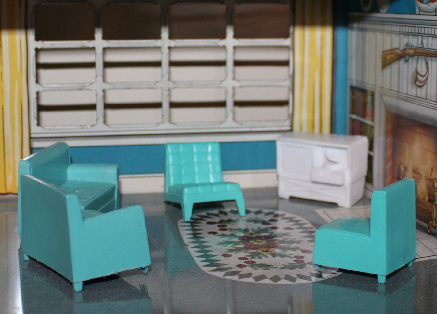 Dollhouse Furniture Living Room Soft Plastic Teal By Prettydish