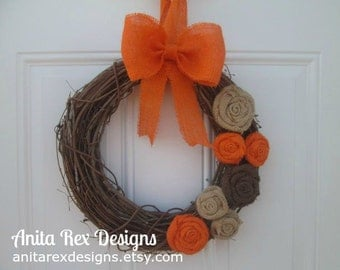 Fall Burlap Wreath, Fall Rustic Wreath, Orange, Brown Natural Burlap, Grapevine Wreath, Fall Wreath