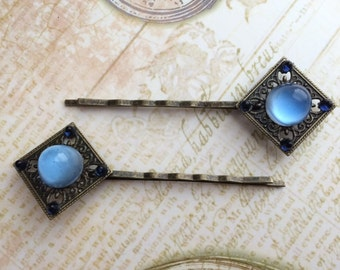 Vintage Glass Bobby Pin Pair