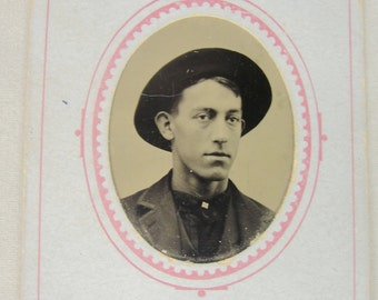 Antique Tintype Photo Card Handsome Man with Hat Will Traute Circa 1890-1910