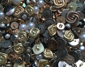 Bulk 50 mix buttons/  gold and black /silver / simulated pearls / copper mix buttons