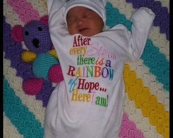 Rainbow of hope baby gown and cap set