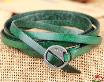 Green Leather Bracelet with Silvery Alloy Buckle - Men Women Leather Bracelet (ST008LBs)