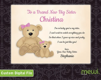Personalized New Big Sister Card from Baby Sister (JPG DOWNLOAD)