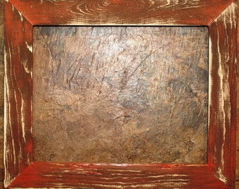 "1-1/2"" Orange Distressed Picture Frame"