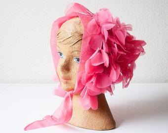 Vintage pink flower petal head scarf