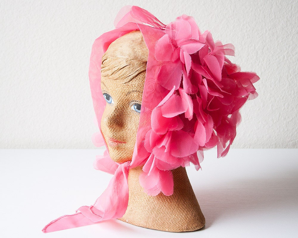vintage pink flower petal head scarf by sadrosetta on etsy