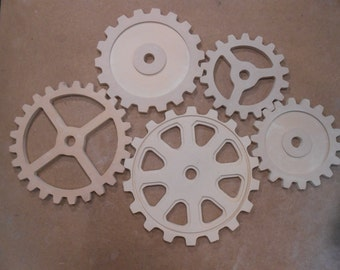 "Wooden Gears, Large Five Wood Gear Set  8""- 12"" - Steampunk, Industiral, Wood Cogs, American Made"