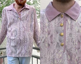 70s vtg purple printed button up shirt OS