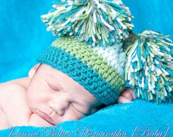 Crochet baby jester hat, pom pom hat. Baby photography props, uk seller