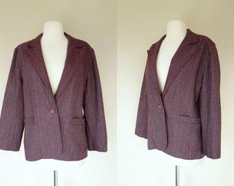1980s purple blazer, wool blazer w/ pockets, striped jacket, Large, US 10