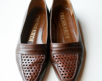 Basket Weave Shoes / Brown Vintage 1980s Italian Leather / Size 6 *FREE SHIPPING with code FROYO*