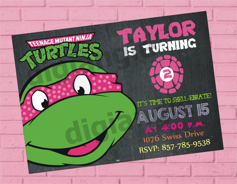 Girl Teenage Mutant Ninja Turtle Birthday Invitation Ninja