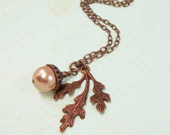 Oak Leaf Necklace Pendant Acorn Pearl Rose Gold Antiqued Copper Fall Autumn Leaves Jewelry