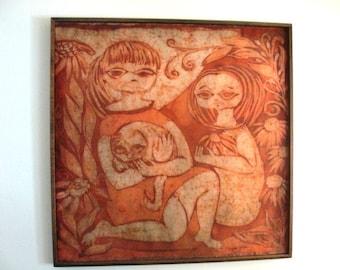 Large Framed Art a Batik by Internationaly Known Lorraine Wiegman Sprague