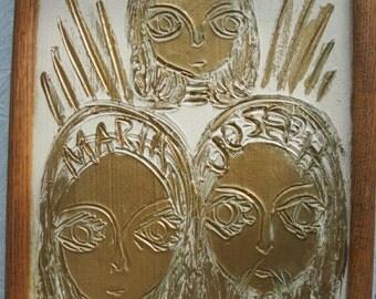 Christian Folk Art Plaster Carving Jesus Marry and Joseph Painted Gold