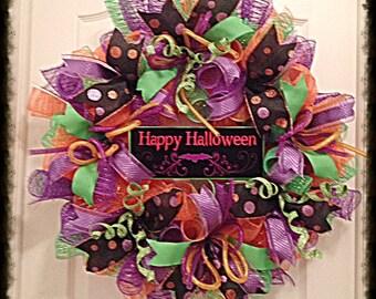 JULYSALE10-Happy Halloween Deco Mesh Wreath/Halloween Deco Mesh Wreath/Halloween wreaths/purple wreath/Black wreath