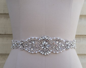 SALE - Wedding Belt, Bridal Belt, Sash Belt, Crystal Rhinestone & Off white pearls - Style B217707