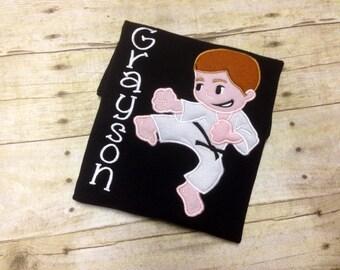 Boys Karate Shirt/ Boys Taekwondo Shirt/ Boys Ninja Shirt/ Karate Birthday Shirt/ Taekwondo Party Shirt/ Personalized Boys Karate Shirt