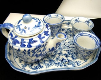 Vintage Childs Blue White Tea Set Tray Pot 3 Cups Marked